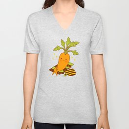 Cute Carrot on Vacation Chilling at the Beach Feeling Relax Unisex V-Neck