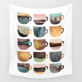 Earthy Coffee Cups Wall Tapestry