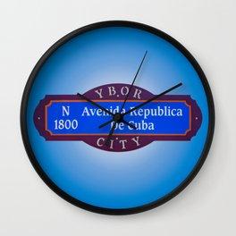 Ybor City Florida Street Sign Avenida Republica De Cuba Avenue of Cuba  Wall Clock