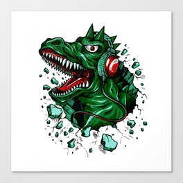 Dino with Headphones Green British Racing Canvas Print