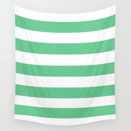 Asda Green (1999) - solid color - white stripes pattern Wall Tapestry