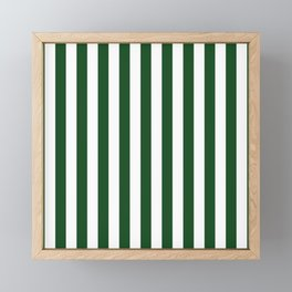 Large Forest Green and White Rustic Vertical Beach Stripes Framed Mini Art Print
