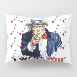 Uncle Sam I Want You With Star Pattern Background Pillow Sham