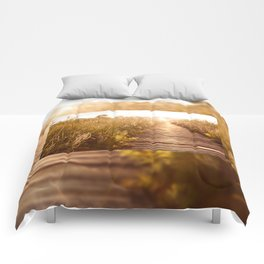 boardwalk and morass grass Comforters