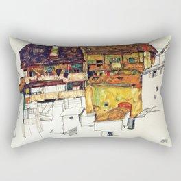Egon Schiele - Old houses in Krumau 1914 Rectangular Pillow