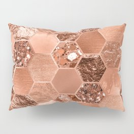 Rose gold hexaglam blonde Pillow Sham
