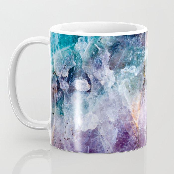 Turquoise & Purple Quartz Crystal Coffee Mug