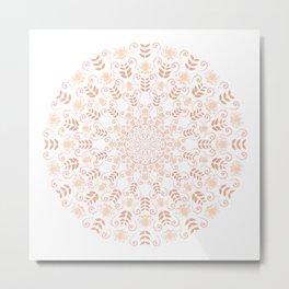 Rosey peach spring floral mandala Metal Print