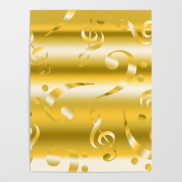Faux Gold Metallic Treble and Bass Musical Notation Poster