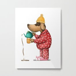 Sleepy Doggie Illustration Metal Print