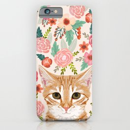 Tabby Cat florals cute spring garden kitten orange tabby cat lady funny girly cat art pet gifts  iPhone Case