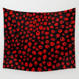 Ladybugs (Red on Black Variant) Wall Tapestry