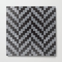 Black & silver pixel herringbone pattern Metal Print