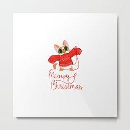 Meowy Christmas! Metal Print