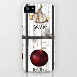 Rustic White Wood Herbs & Garden Vegetables iPhone Case
