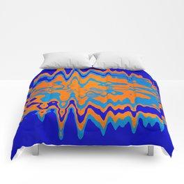 Blue Orange Abstract Comforters