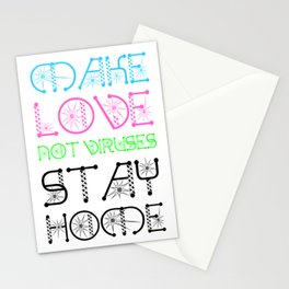 Make Love Not Viruses Funny Virus Awareness Design Stationery Cards