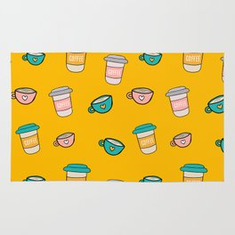 Happy coffee cups and mugs in yellow background Rug