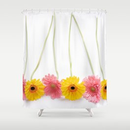 Colorful Pink and Yellow Gerbera Daisy Flowers Fine Art Photography Shower Curtain