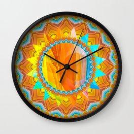 Moon and Sun Mandala Design Wall Clock