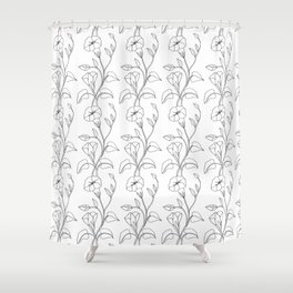 Floral Drawing in black and white Shower Curtain