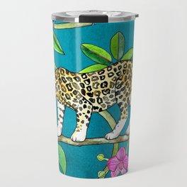 Rainforest Friends - watercolor animals on textured teal Travel Mug