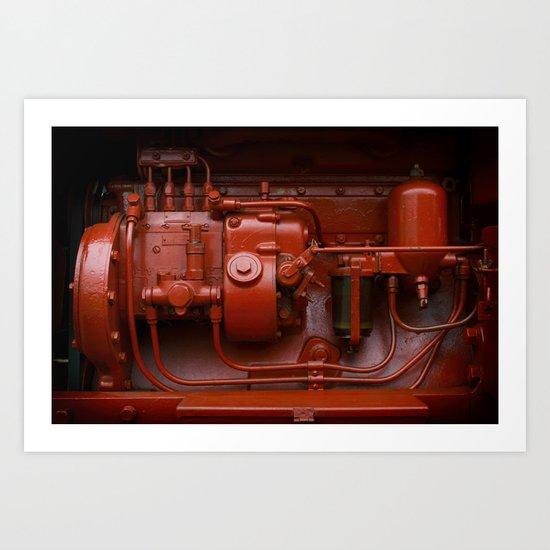 Red Tractor motor Art Print