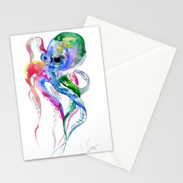 Rainbow Octopus, blue green octopus decor Stationery Cards