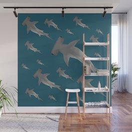 Hammerhead shark school Wall Mural