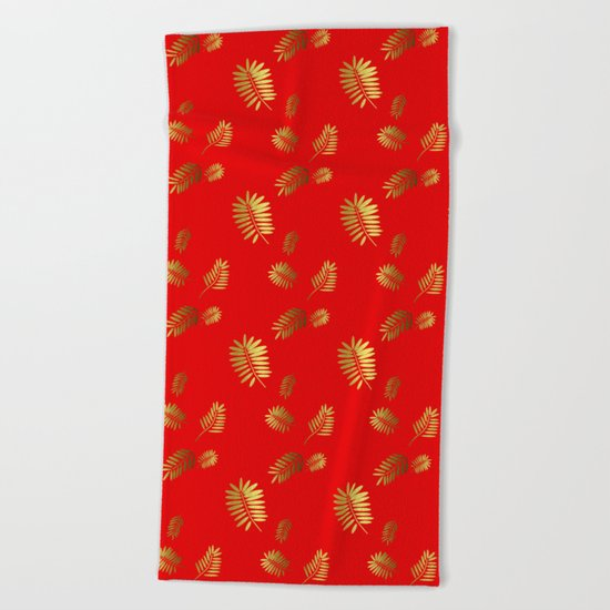 Tropical Pattern Red Beach Towel