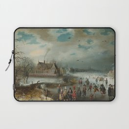 Skating on the Frozen Amstel River by Adam van Breen, 1611 Laptop Sleeve