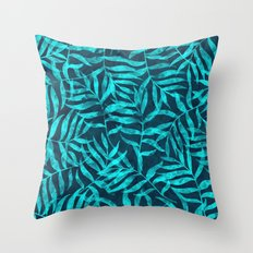 Watercolor Tropical Palm Leaves IX Throw Pillow