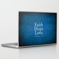 bible Laptop & iPad Skins featuring Faith. Hope. Love. (Blue) - Bible Lock Screens by Bible Lock Screens