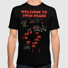 Twin Peaks Map Black MEDIUM Mens Fitted Tee