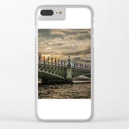 Sunset over Trinity Bridge, Saint Petersburg Clear iPhone Case