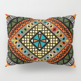 Rhomboid colorful background with ethnic motifs Pillow Sham