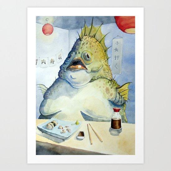 Fish Walks Into a Sushi Bar Art Print