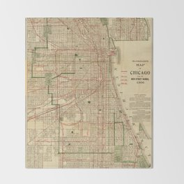 Vintage Map of The Chicago Railroads (1906) Throw Blanket