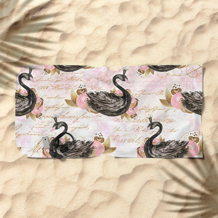 Black Swans ballerina #2 Beach Towel