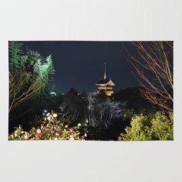 Night Temple in Kyoto Rug