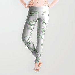 Elegant vintage green white roses shabby floral Leggings