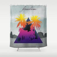freedom Shower Curtains featuring freedom by mark ashkenazi