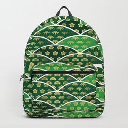 Japanese traditionally auspicious pattern green Backpack