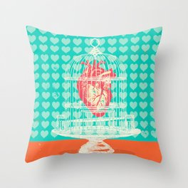 CAGED HEART Throw Pillow