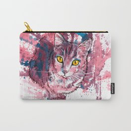 Cat Portrait, pink and purple shades, abstract acrylic painting Carry-All Pouch