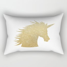 Gold Glitter Unicorn Rectangular Pillow