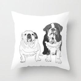 English Bulldog Brothers Throw Pillow