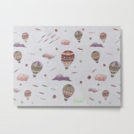 Lilac Hot Air Balloons and Clouds Pattern Metal Print