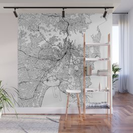 Sydney White Map Wall Mural