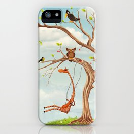 Tree with animals.Bunch of cute little creatures gathered on the branches of tree iPhone Case